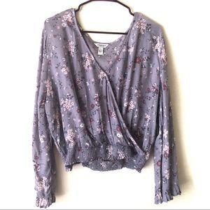 Arizona Lavander Long floral blouse